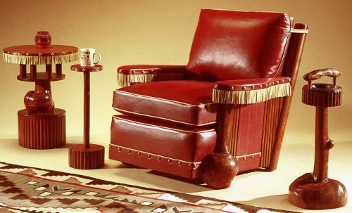 Classic Club Chair with leather panels and fringe