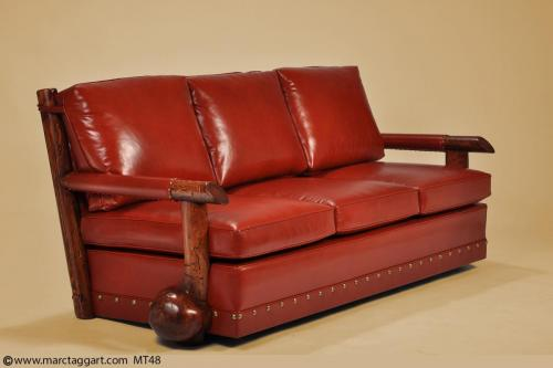 MT48 Strait Arm Burl Sofa