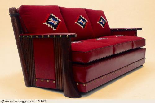 MT49 Flaired leg sofa w/ leather panel
