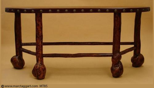 MT85 Burl leg Sofa Table
