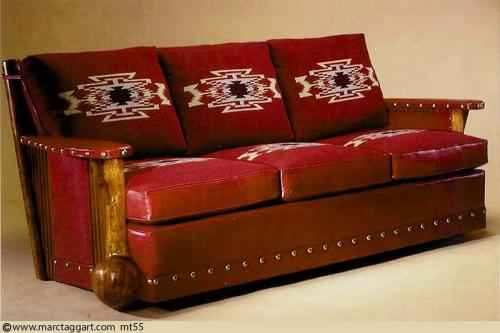 mt55 3 Cushion Burl Sofa