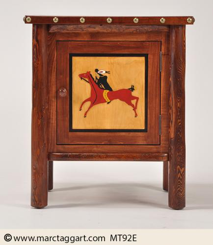 MT92E-Brave-On-Horse-Routed Cabnet-nightstand