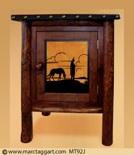 MT92J-Indian Nightstand with Sillhouette Indian